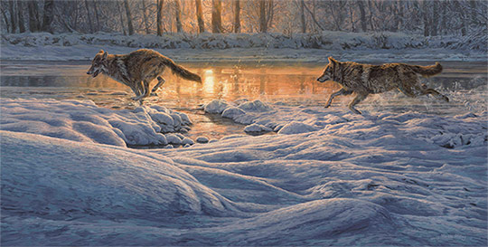 Running wolves in snow. Oil painting for sale