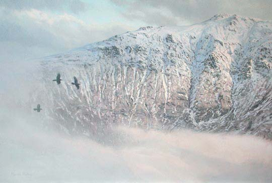 An Stuc (north ridge of Ben Lawers) with passing ravens - reproduced as a canvas print