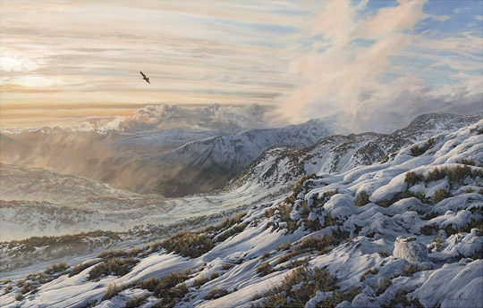 Golden eagle and mountain hare - View hrom Ben Halton Scottish Highlands - Original oil painting on canvas by Martin Ridley