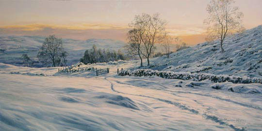 Scottish winter lanscape - snow scenes - print depicting sunset viewed across snow covered hills