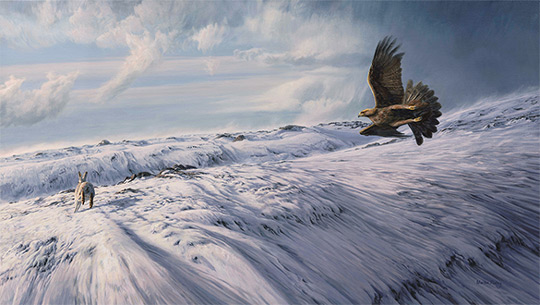 Hunting Golden Eagle - Oil painting of an eagle chasing a mountain hare across snow.