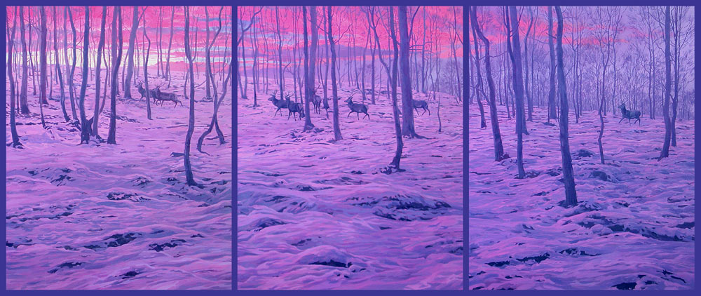 red deer herd in snow, triptych oil painting by Martin Ridley